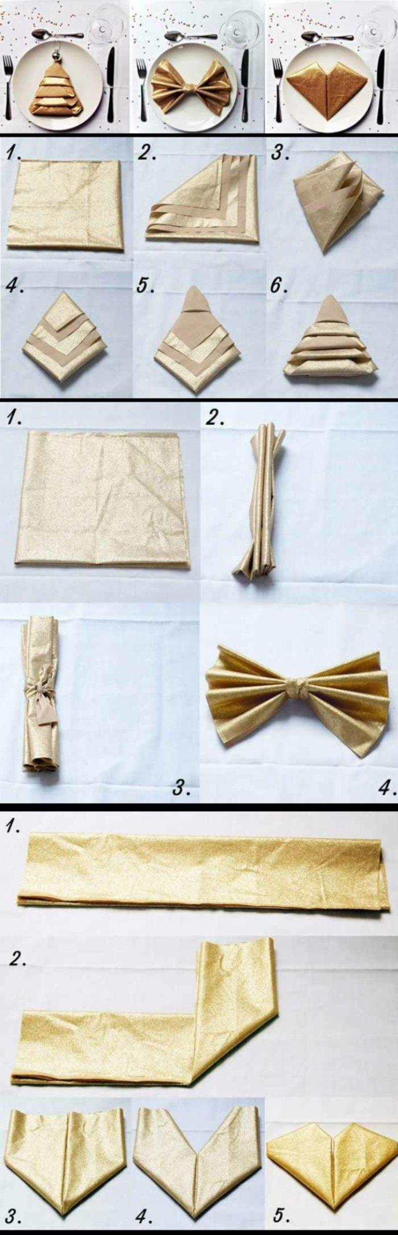 Servietten falten zu Weihnachten Bilderanleitung