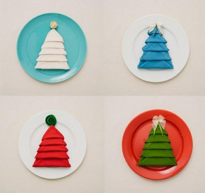Servietten zu Weihnachten falten Dekoideen Weihnachtsbaum