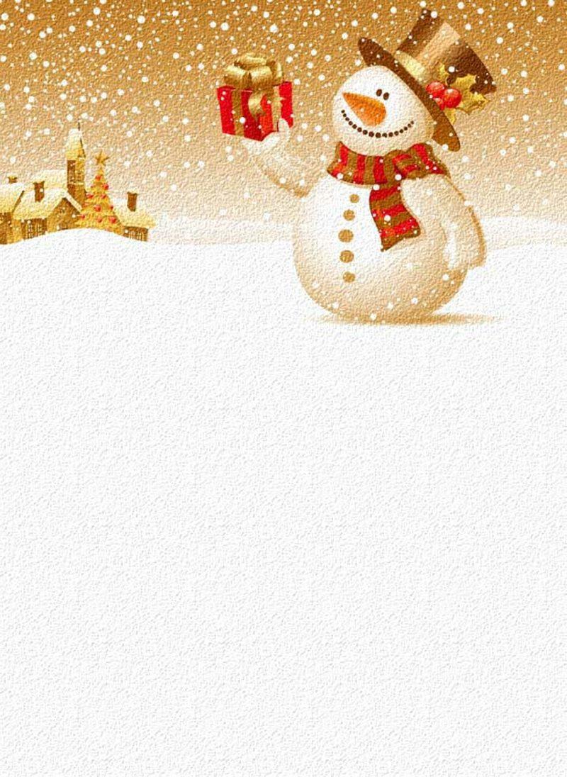 thematisches Briefpapier zu Weihnachten Schneemann mit Geschenk