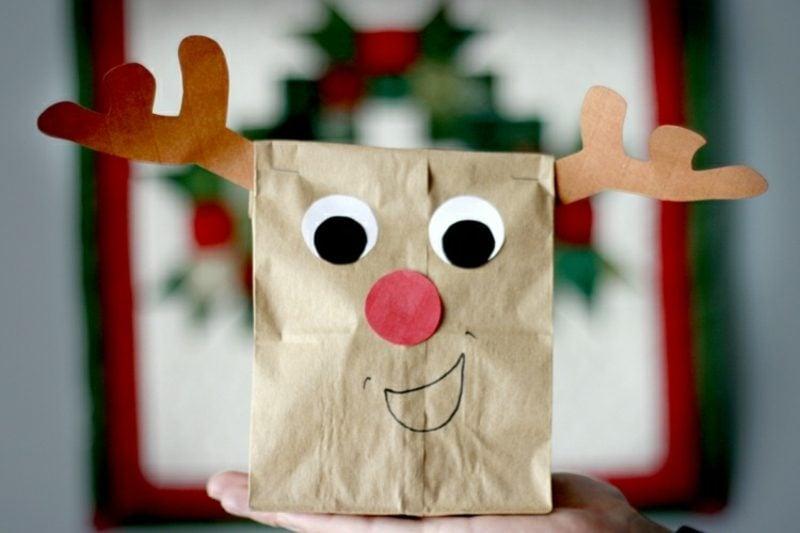 zu Weihnachten basteln Rentier lustig