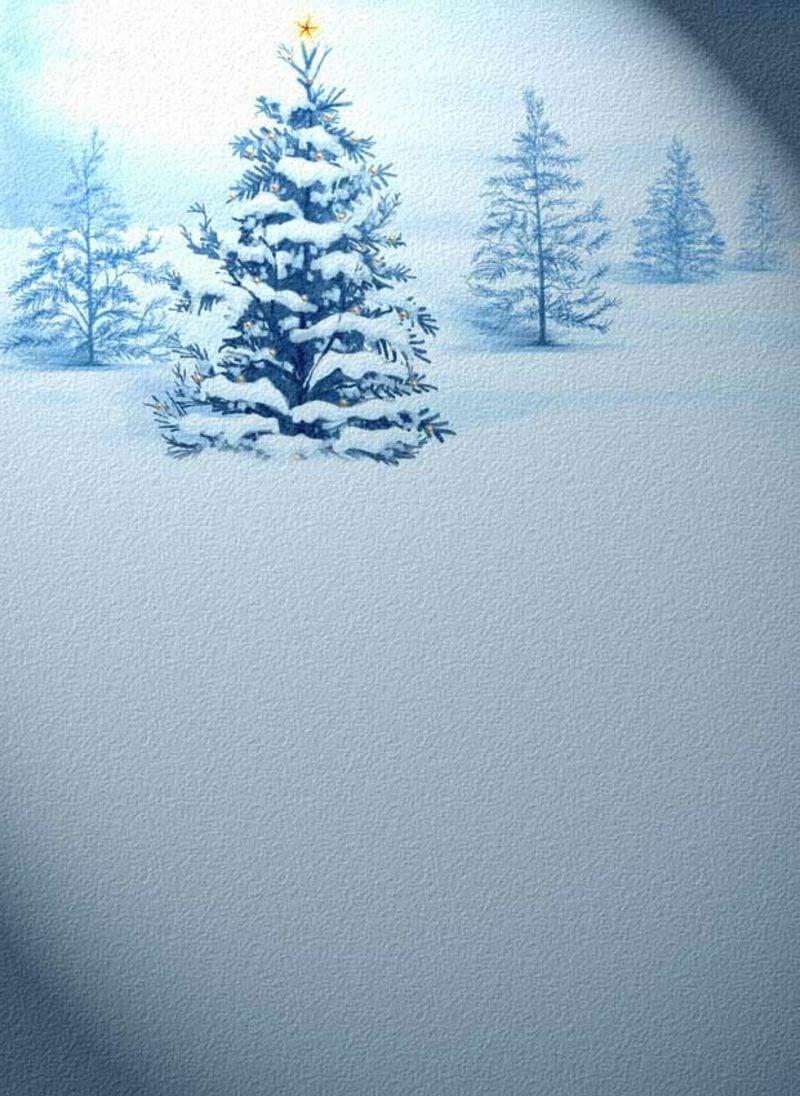 thematisches Briefpapier zu Weihnachten Tannenbaum im Schnee