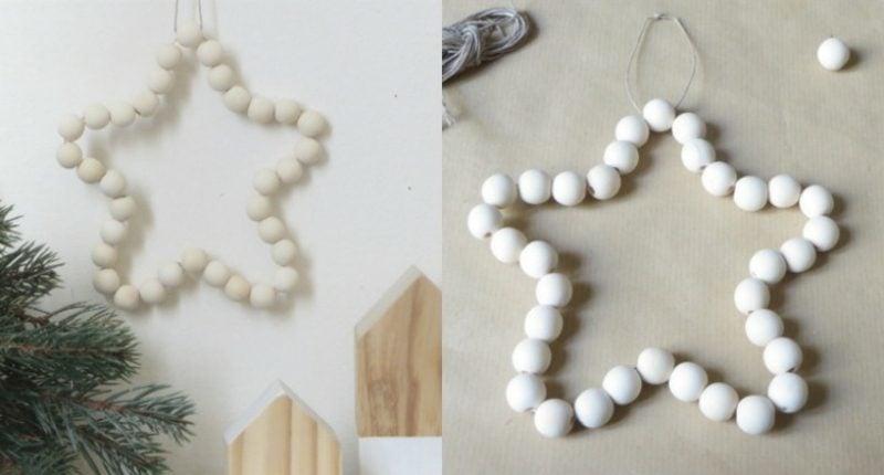 Basteln zu Weihnachten mit Kindern origineller Stern aus Holzperlen