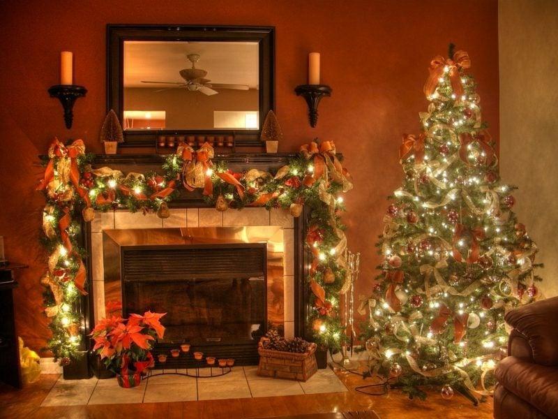 prachtvolle Dekoideen zu Weihnachten Kaminsims