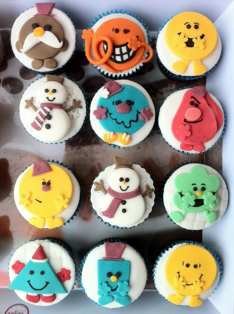 coole weihnachts farbig cupcakes