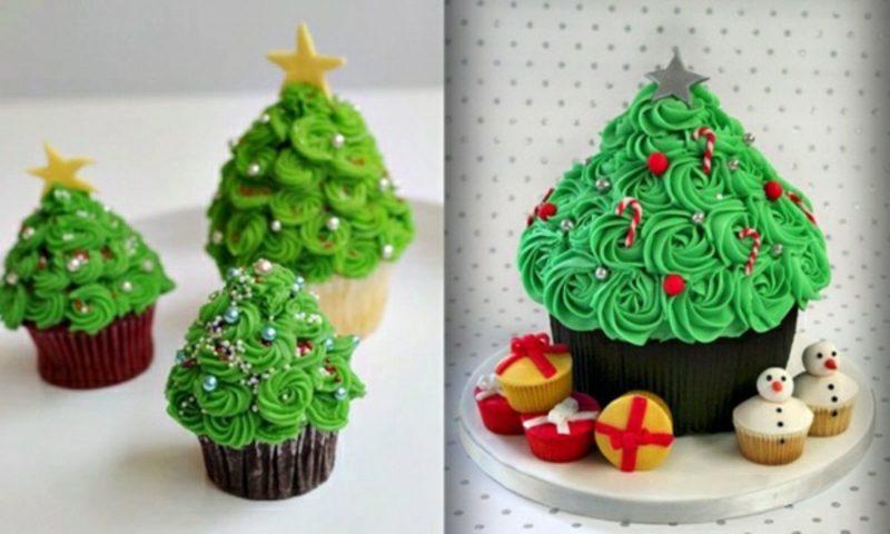 coole weihnachts weihnachtscupcakes mit weihnachtsbaumen-cupcakes