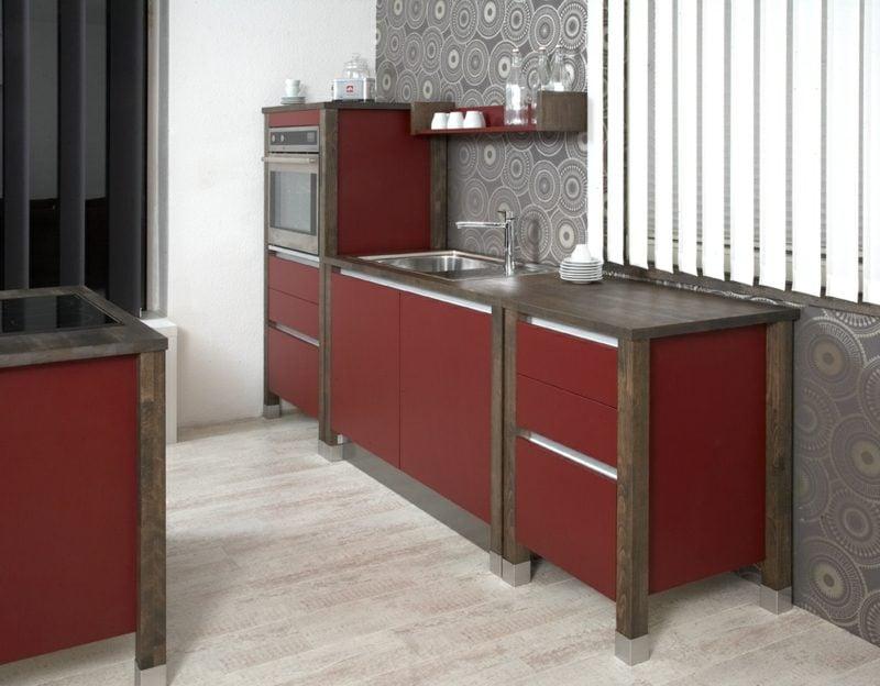 friestehende modulare Küche im Rot