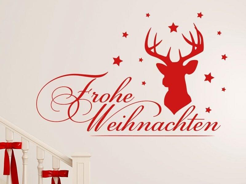 frohe Weihnachten Hirschkopf und Sterne