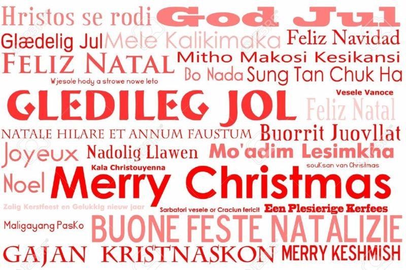 frohe Weihnachten auf verschiedenen Sprachen