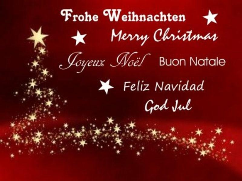 frohe Weihnachten auf verschiedenen Sprachen fünf Sprachen