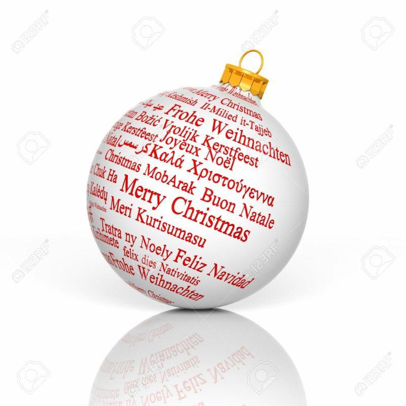 Weihnachtskugel frohe Weihnachten mehrere Sprachen