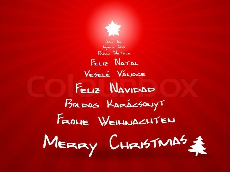 frohe Weihnachten Christbaum neun verschiedene Sprachen