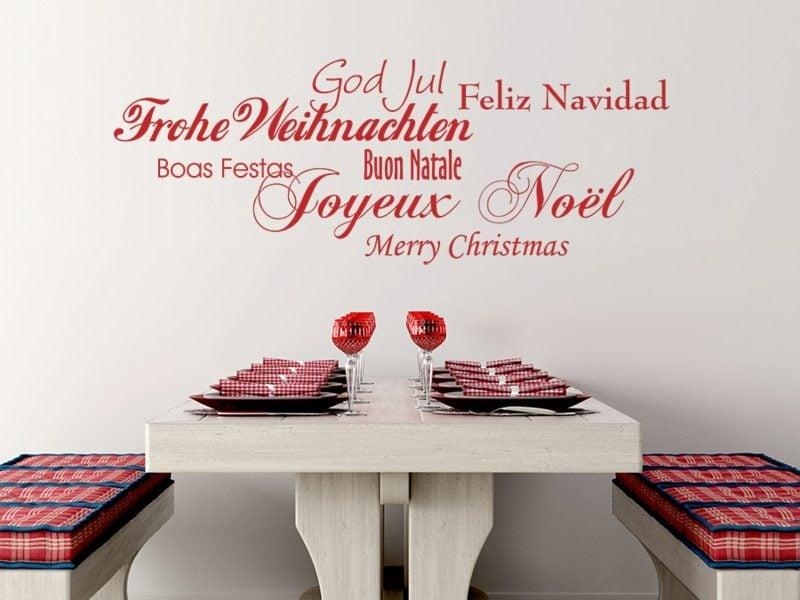 frohe Weihnachten auf sieben unterschiedliche Sprachen sagen