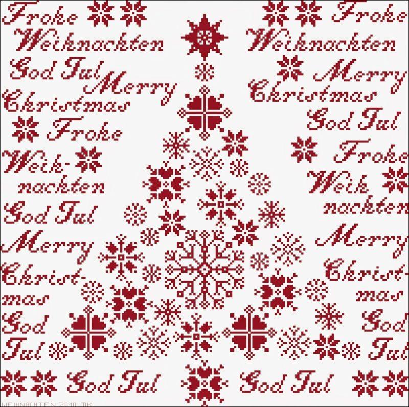 frohe Weihnachten auf verschiedenen Sprachen und Christbaum