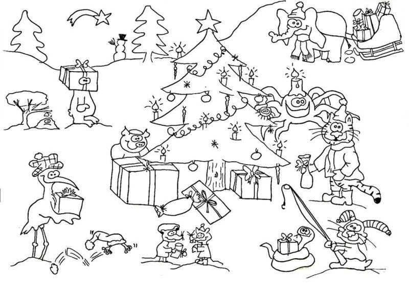 Ausmalbilder zu Weihnachten das Weihnachtsfest in der Wald