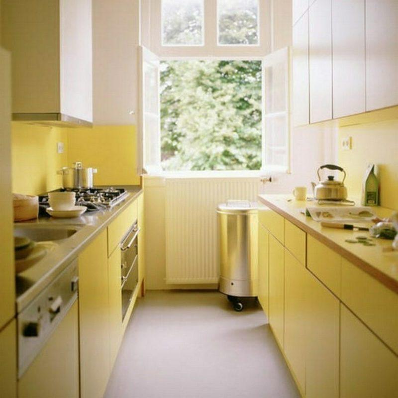 kleine Modulküche im Gelb