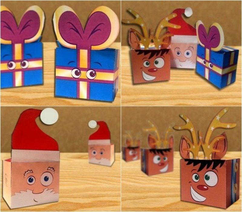 DIY Ideen Weihnachten lustige Geschenksschachteln selber basteln