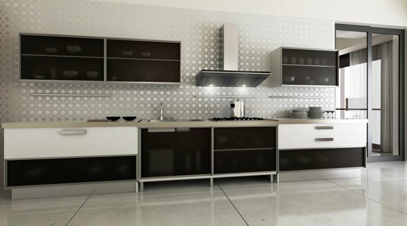 moderne Modulküche aus Edelstahl