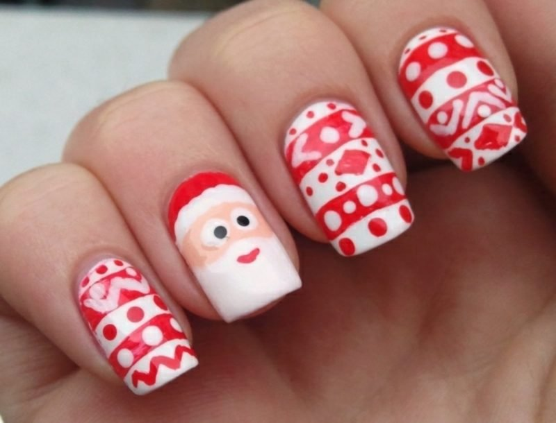 Trendiges Nageldesign Zu Weihnachten - Nageldesign Weihnachtsdeko Ideen - ZENIDEEN