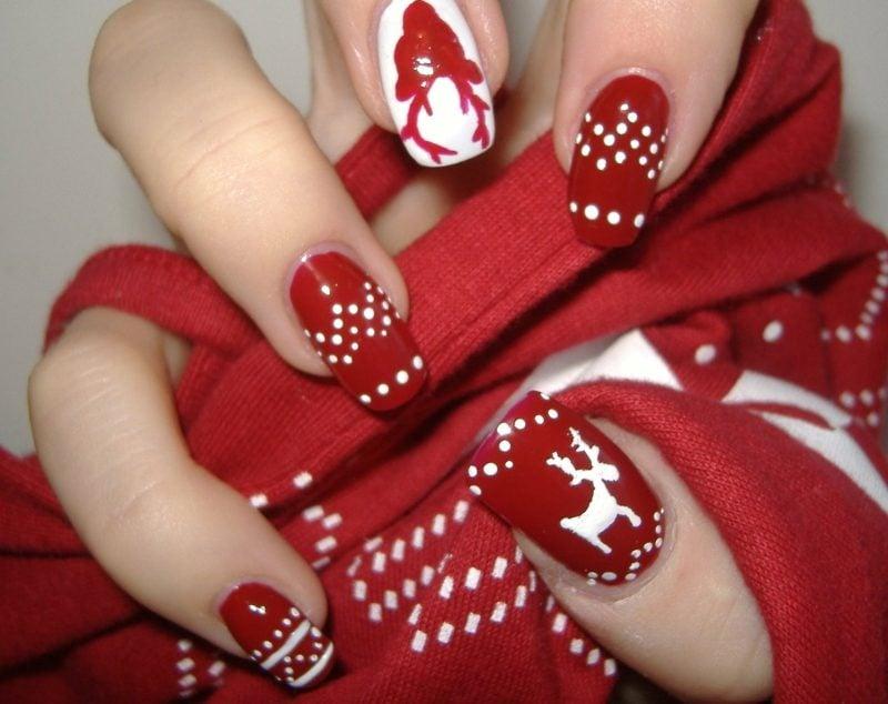 Nageldesign zu Weihnachten rot