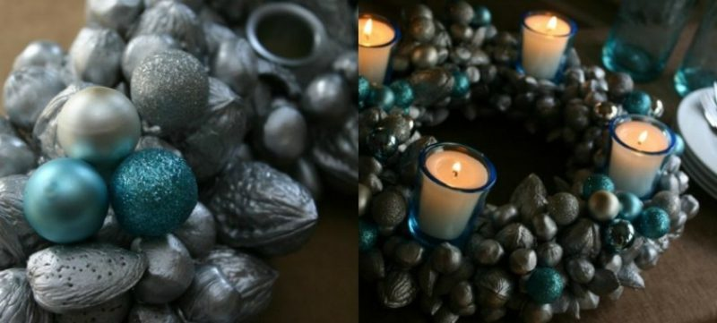 Basteln zu Weihnachten mit Kindern origineller Adventskranz im Blau und Silber