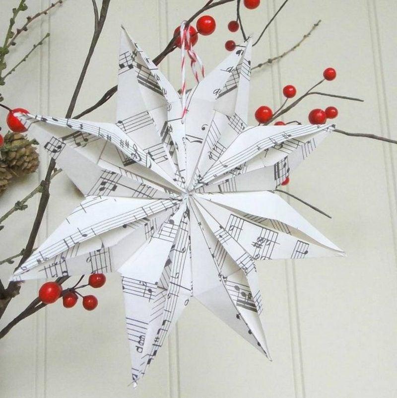 Bastelanleitungen zu Weihnachten Stern aus Notenpapier
