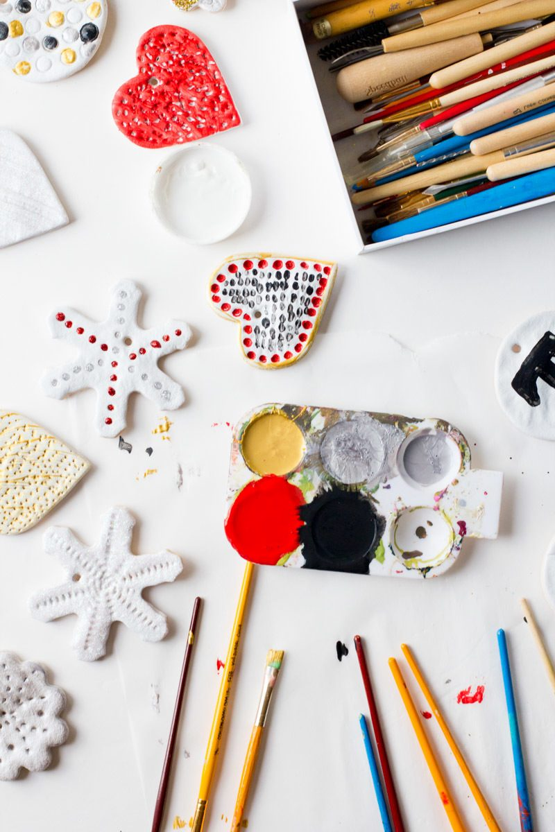 Salzteig Weihnachten Dekoration mit Acryl-Farben