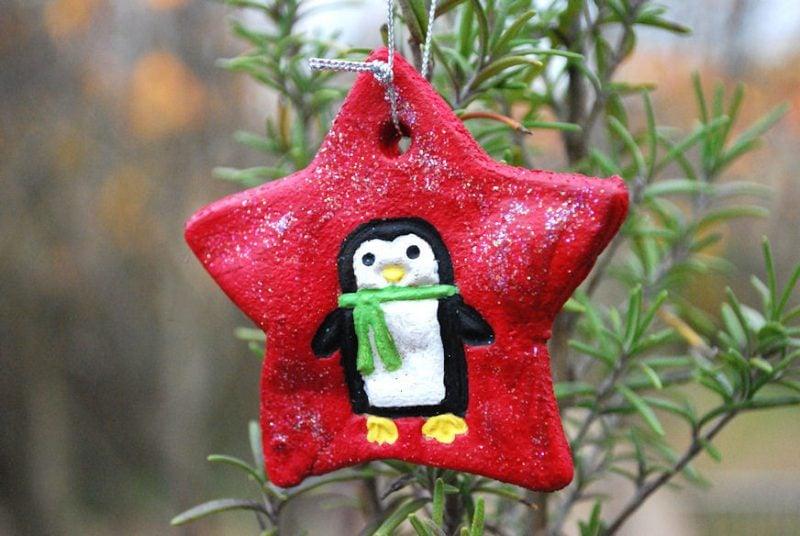 Salzteig Weihnachten mit Glitter dekorieren