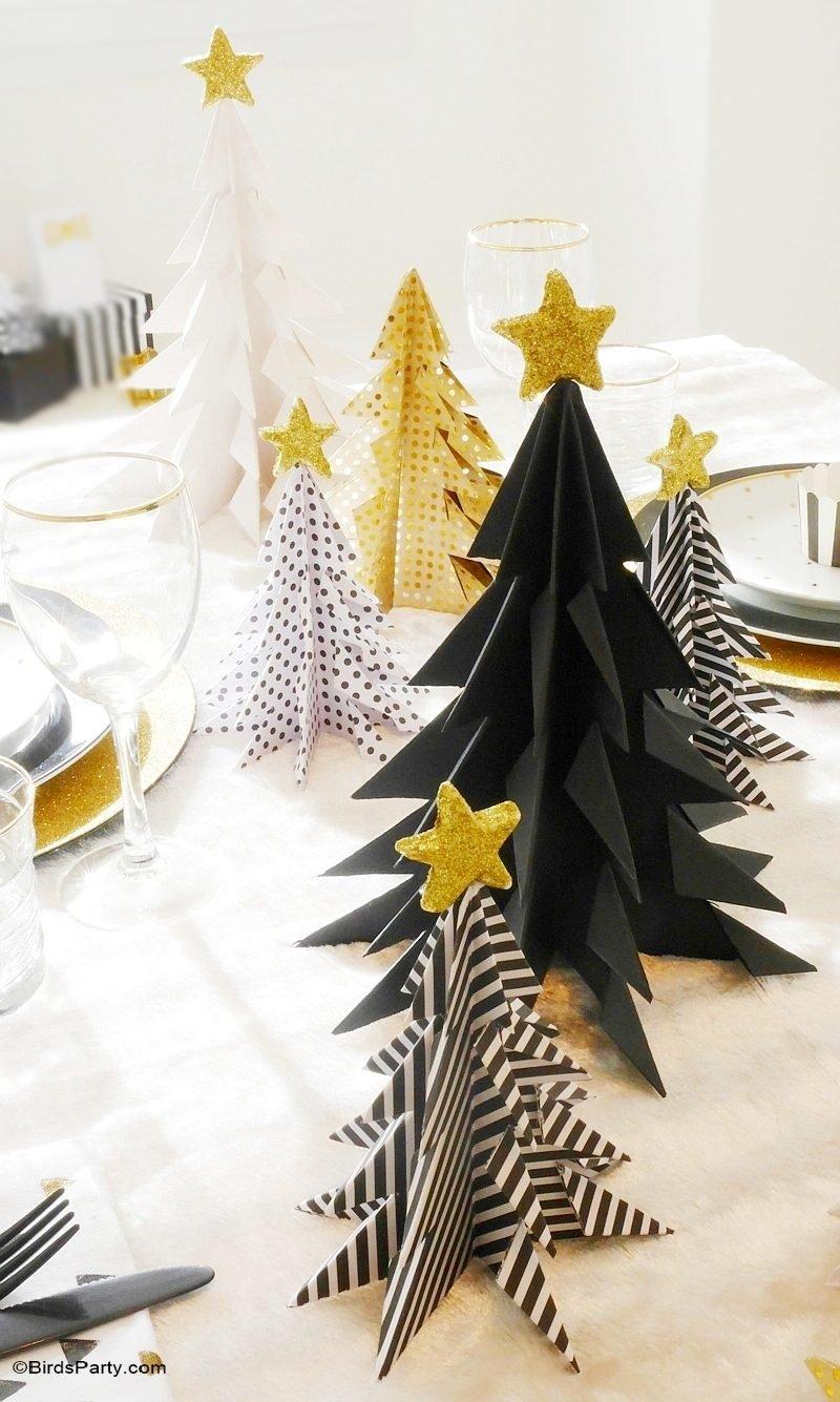 Tisch weihnachtlich dekorieren mit Weihnachtsbaum aus Papier