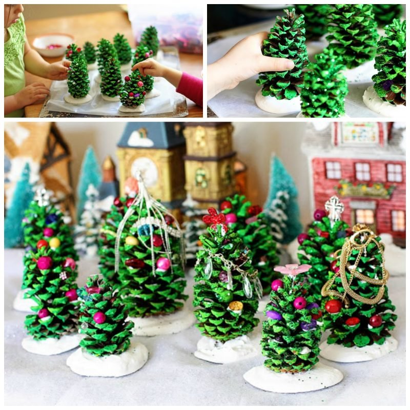 Tisch weihnachtlich dekorieren mit Weihnachtsbaum aus Tannenzapfen