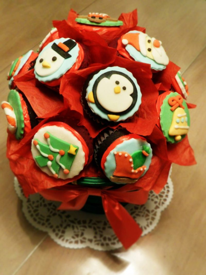 weihnachts christmas cupcakes bouquet cupcakes