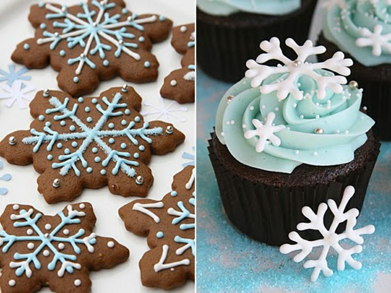 weihnachts snowflake cupcake and gingerbread cookies cupcakes