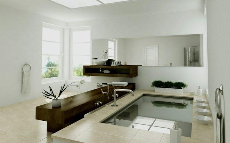 Luxus Badezimmer neutrale Farbgestaltung kleines Schwimmbecken