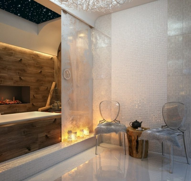 Luxus Badezimmer Kamin indirekte Beleuchtung prunkvolles Ambiente