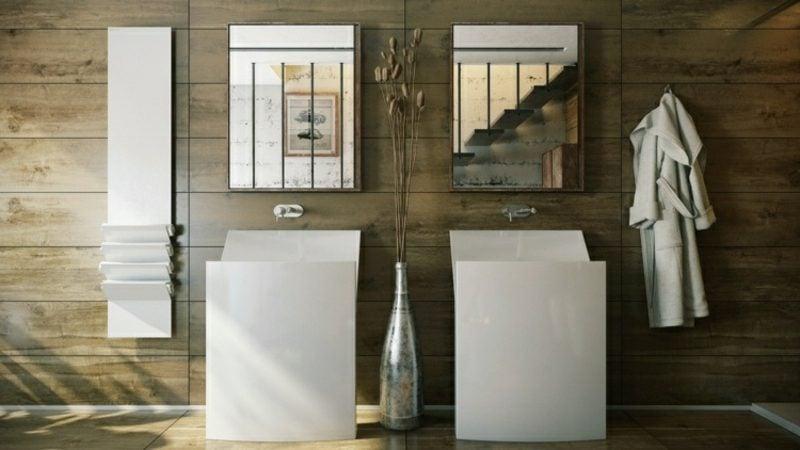Luxus Badezimmer Porzellanwaschbecken Wandverkleidung Holz rustikaler Look