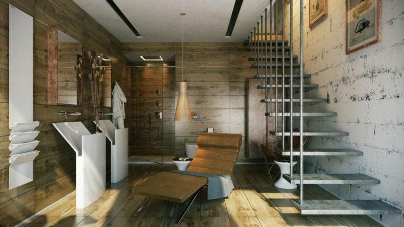Luxus Badezimmer Wandverkleidung Holz hängende Treppe