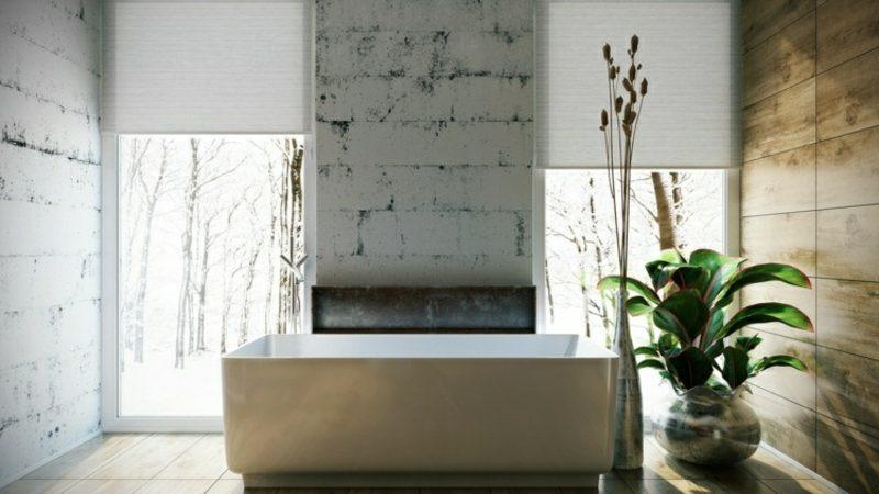 Luxus Badezimmer riesige Wanne aus Porzellan Wandverkleidung Betonoptik