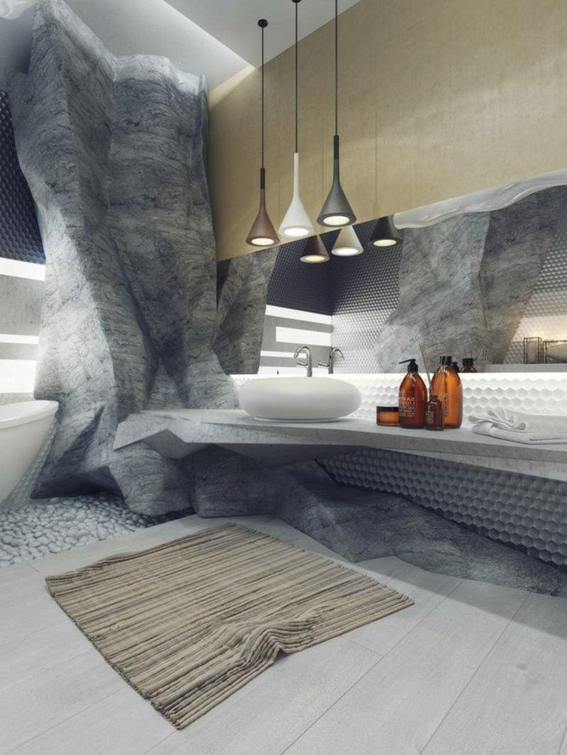 Luxus Badezimmer Wandverkleidung Felsenimitation