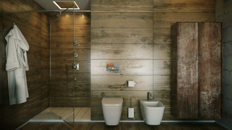 Luxus Badezimmer Wandverkleidung Holzpaneele Duschkabine