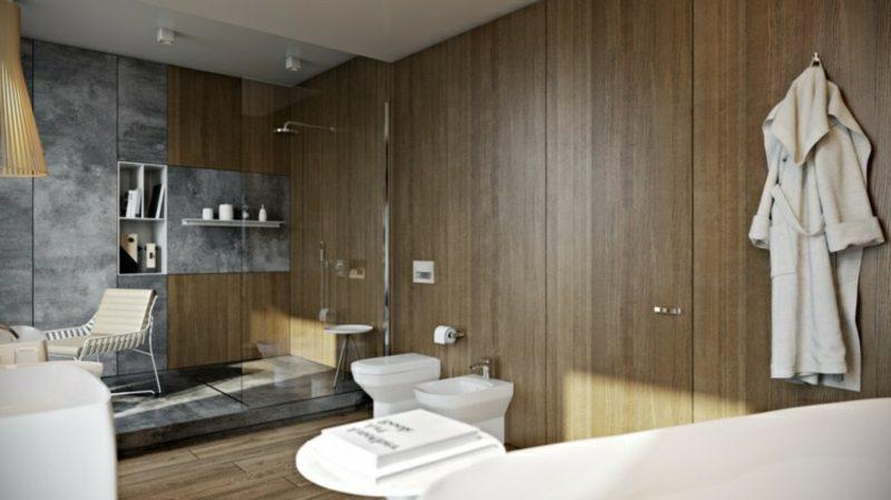 Luxus Badezimmer Wandverkleidung dunkles Holz Glasduschkabine