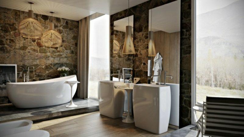 Luxus Badezimmer Akzentwand Natursteinverkleidung Badewanne massive Waschtische aus Porzellan