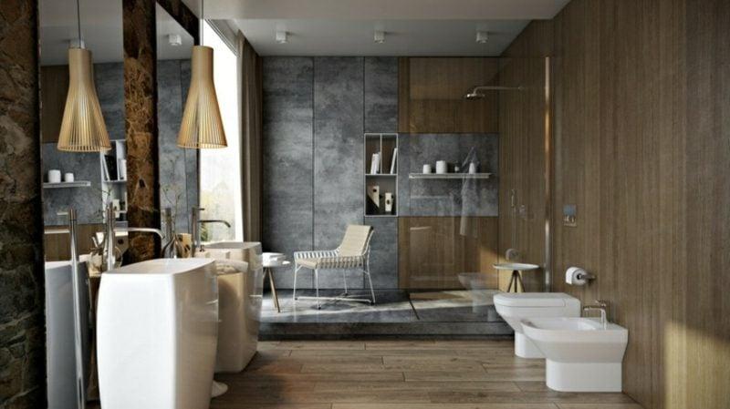 Luxus Badezimmer interessante Wandverkleidung Betonoptik