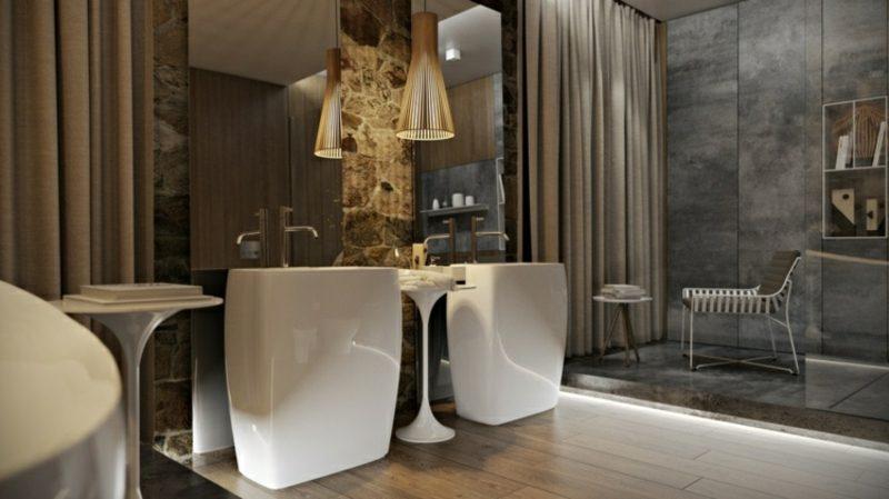 Luxus Badezimmer massive Waschtische aus Porzellan Spiegel