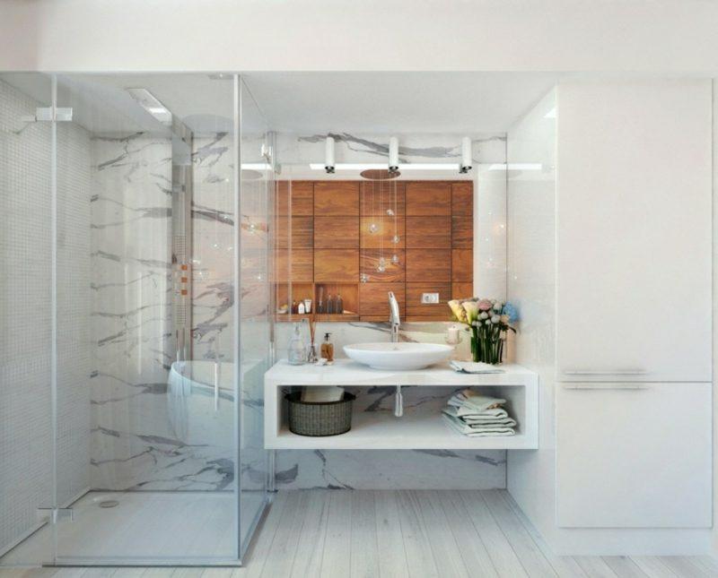 Luxus Badezimmer Marmorfliesen Akzentwand Holzpaneele