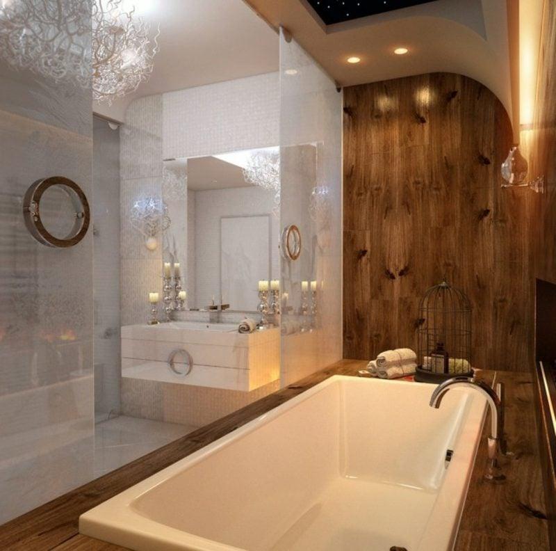 Luxus Badezimmer Wandverkleidung Holz riesige Badewanne