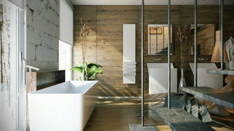 Luxus Badezimmer Wandverkleidung Holz Hängende Treppe Riesige Badewanne