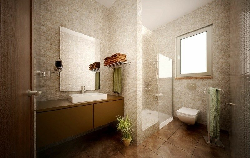 Luxus Badezimmer im Beige und Braun Mosaikfliesen Glasduschkabine