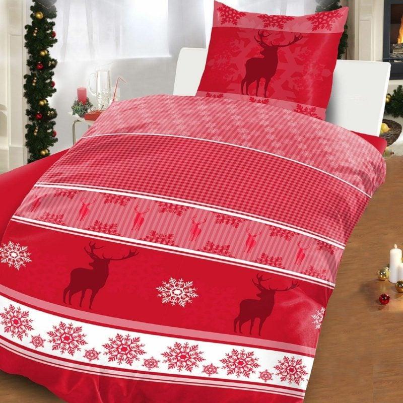 Bettwäsche zu Weihnachten im Rot Schneeflocken und Rentiere