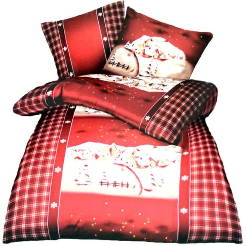 Bettwäsche zu Weihnachten Baumwolle und Seige Winterlandschaft