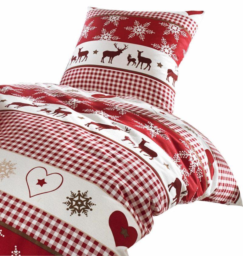 interessante Bettwäsche zu Weihnachten traditionelle Motiven rot und weiss