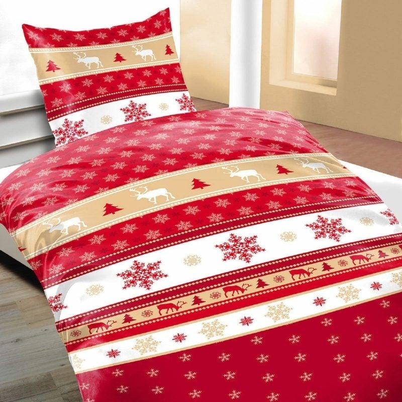 Bettwäsche zu Weihnachten traditionelle Motive Rentiere, Schneeflocken und Tannen